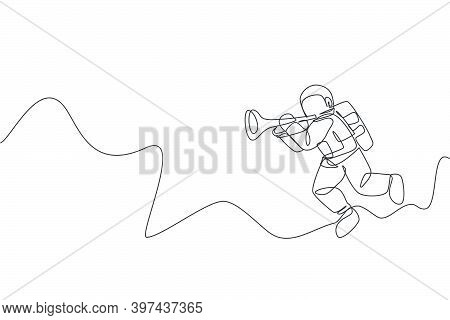 One Continuous Line Drawing Of Astronaut With Spacesuit Playing Trumpet In Galaxy Universe. Outer Sp