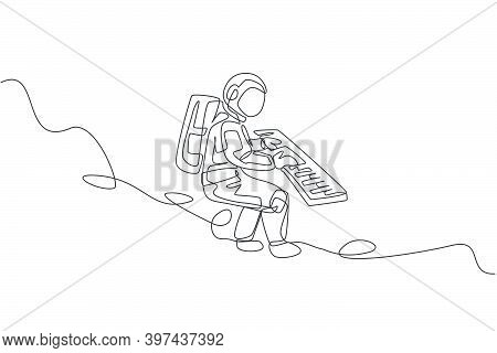 One Single Line Drawing Of Spaceman Playing Keyboard Musical Instrument In Deep Space Graphic Vector