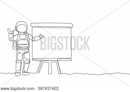 One Continuous Line Drawing Of Young Spaceman On Spacesuit Gave Business Presentation In Meeting. As