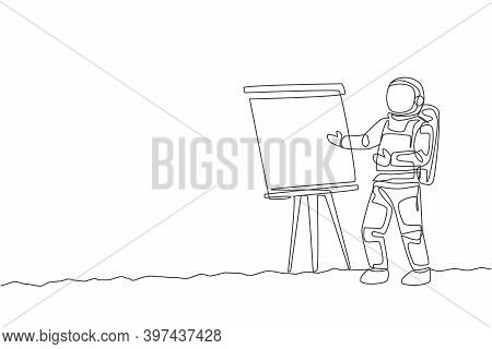 Single Continuous Line Drawing Of Astronaut Give Marketing And Sales Data Presentation In Company Me