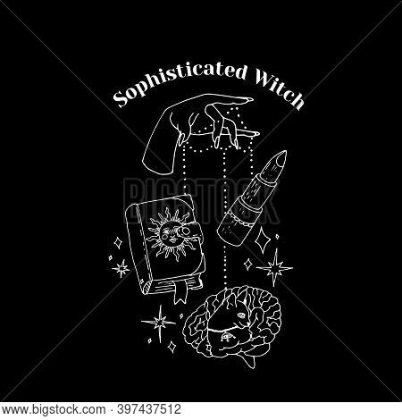 White Line Art Witchcraft And Magic Print With Text Sophisticated Witch On A Black Background. Vecto