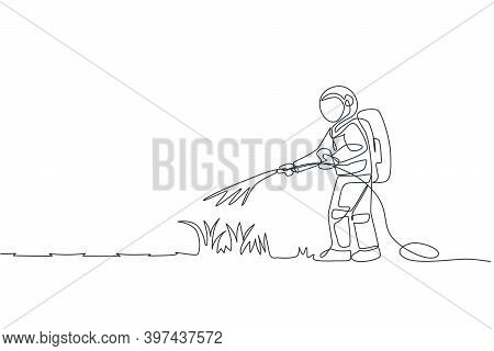 Single Continuous Line Drawing Cosmonaut Watering Green Grass Using Metal Plastic Hose In Moon Surfa