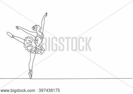 One Single Line Drawing Of Young Beauty Dancer Woman On Tutu Exercise Classic Ballet Dance At Ballet