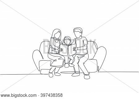 Single Continuous Line Drawing Young Mom And Dad Sitting On Sofa And Reading A Story Book To Their S