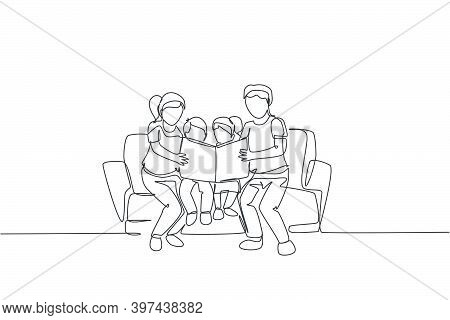 One Single Line Drawing Of Young Happy Father And Mother Siting On Sofa To Read A Story Book To Thei
