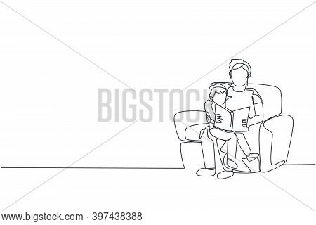 One Continuous Line Drawing Young Father Siting On Sofa And Reading A Story Book To His Son At Home,