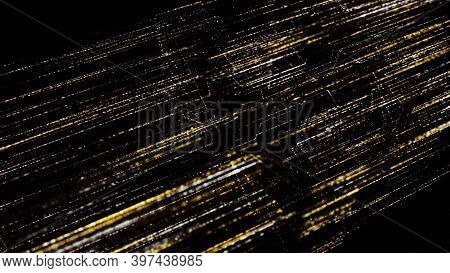 Beautiful Flow Of Shining Lines On Black Background. Animation. Cosmic Stream With Shining Lines Mov