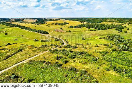 Aerial Landscape Of The Central Russian Upland. Lukyanchikovo Village, Kursk Region.