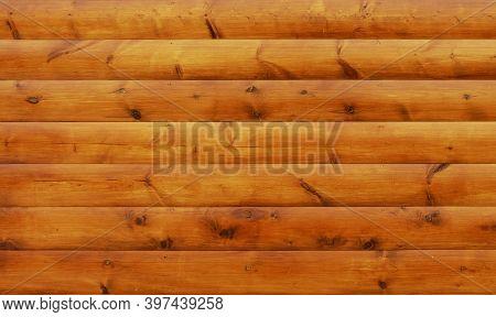 Orange Wood Block House Siding Material Background.