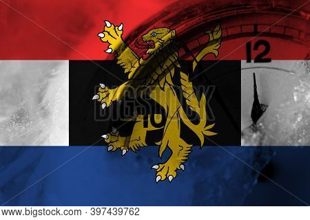 Benelux Flag With Clock Close To Midnight In The Background. Happy New Year Concept