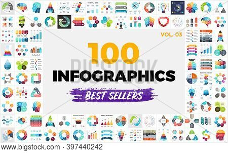 100 Best-selling Infographic Elements - Part 3. Vector Presentation Slide Templates. Perfect For Any