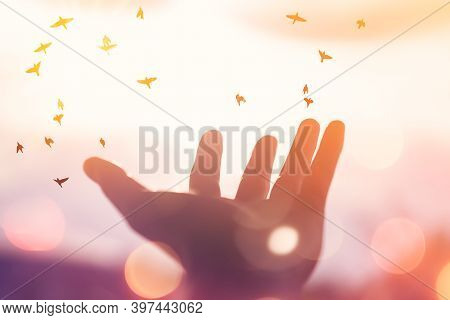 Man Raise Open Hand Up And Birds Flying On Sunset Sky Abstract Background.