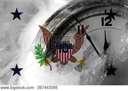 United States Of America, America, Us, Usa, American, Vice President Flag With Clock Close To Midnig