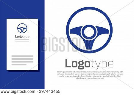 Blue Steering Wheel Icon Isolated On White Background. Car Wheel Icon. Logo Design Template Element.