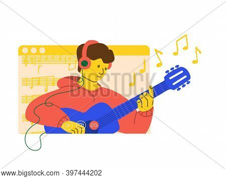 Online Concert. Man Plays The Guitar In Stream On Social Networks. The Musicians Performance In Quar