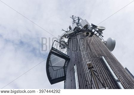 Wireless Communication Equipment Transmitter On Pyramidenkogel Tower, On The Shore Of Famous Lake Wo
