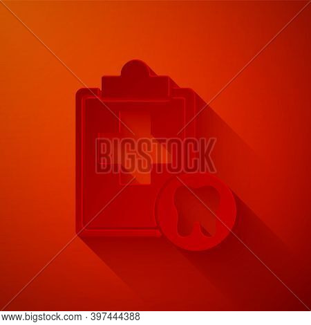 Paper Cut Clipboard With Dental Card Or Patient Medical Records Icon Isolated On Red Background. Den