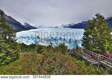 El Calafate, Patagonia, Argentina - 14 Dec 2019. Perito Moreno Glacier Close El Calafate, Patagonia,
