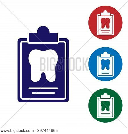 Blue Clipboard With Dental Card Or Patient Medical Records Icon Isolated On White Background. Dental
