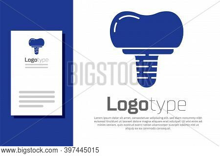 Blue Dental Implant Icon Isolated On White Background. Logo Design Template Element. Vector