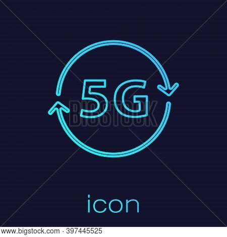 Turquoise Line 5g New Wireless Internet Wifi Connection Icon Isolated On Blue Background. Global Net