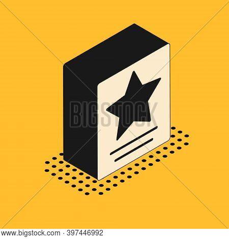Isometric Hollywood Walk Of Fame Star On Celebrity Boulevard Icon Isolated On Yellow Background. Fam