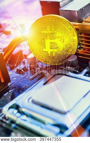 Crypto currency concept,crypto currency composition, business crypto currency concept. bitcoin among the electronic computer elements, concept of bitcoin digital cryptocurrency. Crypto currency bitcoin mining concept