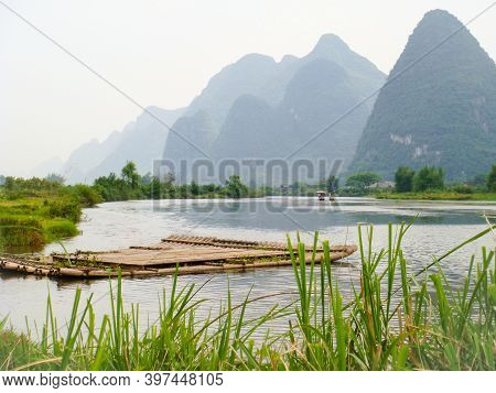 Beautiful Karst Surroundings Of The Li River Near Yangshuo, China