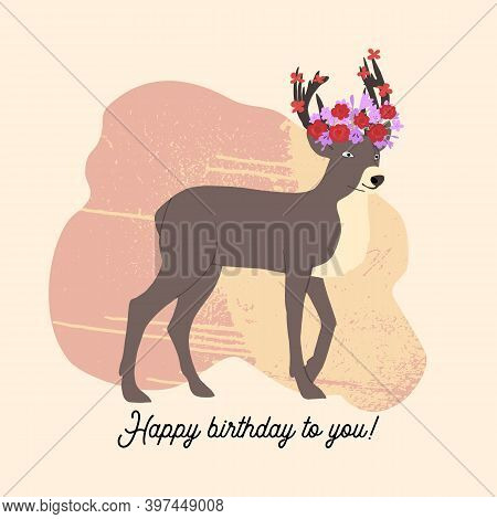 Greeting Card With Funny Cute Reindeer And Abstract Background