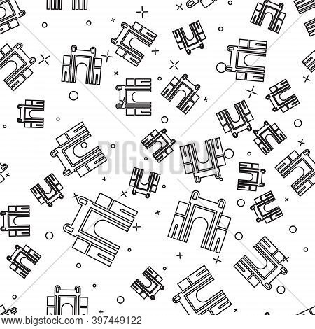 Black Line India Gate In New Delhi, India Icon Isolated Seamless Pattern On White Background. Gate W