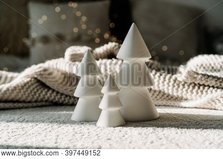 Happy New Years. Christmas Background With Fir Tree And Christmas Decorations. Christmas Holiday Cel