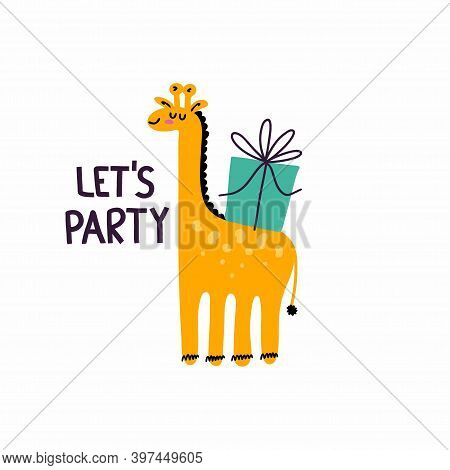 Happy Birthday. Postcard In Primitive Minimalist Style, Cute Giraffe With Festive Presents And Gifts