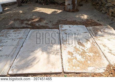 Chora, Ios Island, Greece- 22 September 2020: View Of The Old Tombstones At Agia Irini, Saint Irene,
