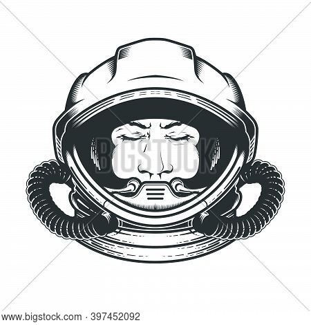 Face Of Astronaut In Space Helmet, Portrait Of Spaceman In Spacesuit With Closed Eyes, Dreaming Cosm