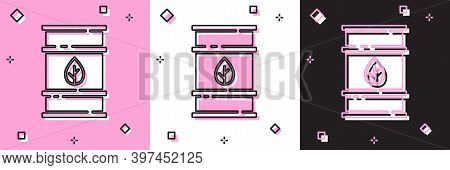 Set Bio Fuel Barrel Icon Isolated On Pink And White, Black Background. Eco Bio And Canister. Green E
