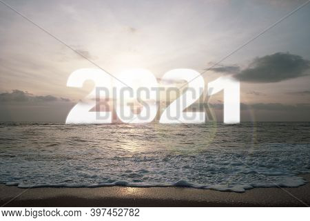 White Of Number 2021 On Sea With Sunrise And Morning Sky.welcome Merry Christmas And Happy New Year
