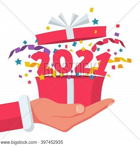 Happy New Year 2021. Open Gift With Serpentine Confetti And Flying Numbers 2021. Vector Illustration