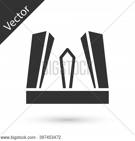 Grey Gate Of Europe Icon Isolated On White Background. The Puerta De Europa Towers. Madrid City, Spa