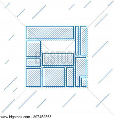 Blue Line House Edificio Mirador Icon Isolated On White Background. Mirador Social Housing By Mvrdv