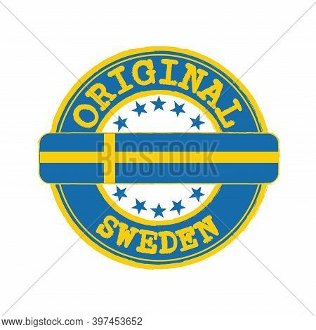 Vector Stamp Of Original Logo With Text Sweden And Tying In The Middle With Nation Flag. Grunge Rubb