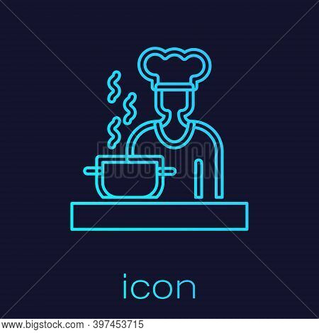 Turquoise Line Spanish Cook Icon Isolated On Blue Background. Vector
