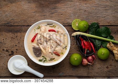 Thai Chicken Coconut Soup.boiled Chicken Feet And Blood Jelly With Galangal, Lemon Grass, Kaffir Lim