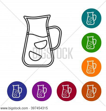Black Line Sangria Icon Isolated On White Background. Traditional Spanish Drink. Set Icons In Color