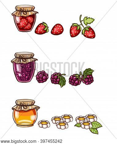 Simple Hand Drawn Illustration Of Homemade Jam Jam With Cherry Berries, Seasonal Autumn Indoors Acti