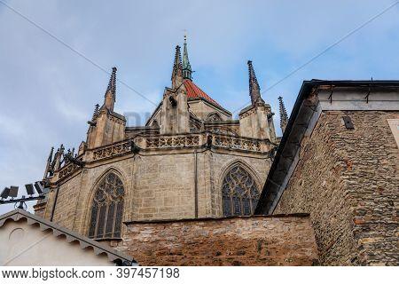 Medieval Stone St. Bartholomew´s Church In Autumn Day, Arched Windows, Chimeras And Gargoyles, Gothi