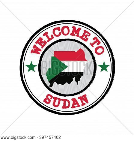 Vector Stamp Of Welcome To Sudan With Map Outline Of The Nation In Center. Grunge Rubber Texture Sta