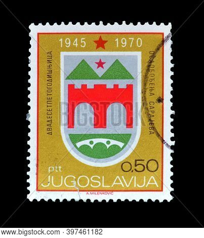 Yugoslavia - Circa  1970 : Cancelled Postage Stamp Printed By Yugoslavia, That Shows Coat Of Arms, A