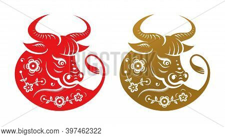 Golden Metal Ox Zodiac Sign, Head With Flowers Isolated Icons. Cny Chinese New Year Symbol, Taurus H