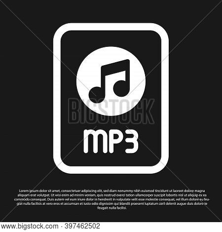 Black Mp3 File Document. Download Mp3 Button Icon Isolated On Black Background. Mp3 Music Format Sig