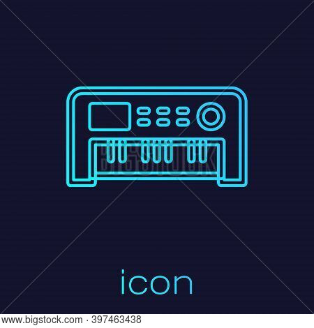 Turquoise Line Music Synthesizer Icon Isolated On Blue Background. Electronic Piano. Vector